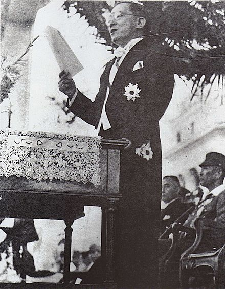 Jose P. Laurel giving a speech after his inauguration as President of the Second Philippine Republic Jose P. Laurel giving a speech.jpg