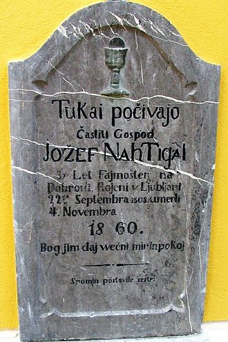 "Tombstone of Jozef Nahtigal in Dobrova with archaic Slovene onikanje in indirect reference. Literal translation ""Here lie [pocivajo] the honorable Jozef Nahtigal ... they were born [rojeni] ... they died [umerli] ... God grant them [jim] eternal peace and rest."" Jozef Nahtigal tombstone in Dobrova Slovenia.jpg"