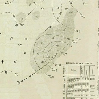 1893 Atlantic hurricane season - Image: June 16, 1893 hurricane 1 map