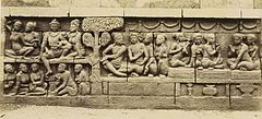 KITLV 40074 - Kassian Céphas - Relief of the hidden base of Borobudur - 1890-1891.jpg