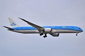 KLM Royal Dutch Airlines Boeing 787-10 Dreamliner PH-BKC approaching JFK Airport.jpg