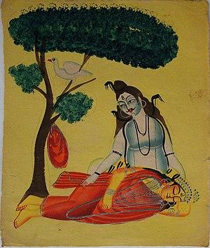 Sati (Hindu goddess) - Image: Kalighat Shiva mourns Sati