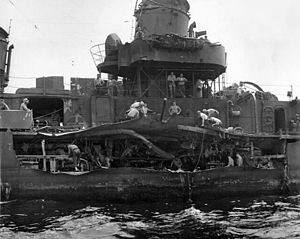 USS J. William Ditter - The kamikaze damage sustained in 1945.