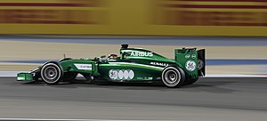 Caterham F1 - Kamui Kobayashi racing during the 2014 Bahrain Grand Prix.