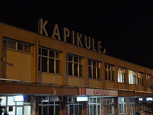 Kapıkule railway station - The station building at night.
