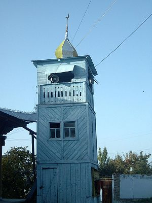 Karakol - The minaret of the Dungan Mosque
