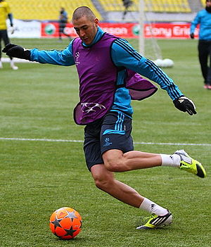Adidas Finale - Karim Benzema of Real Madrid training with a high-visibility variant of the Finale in 2012.