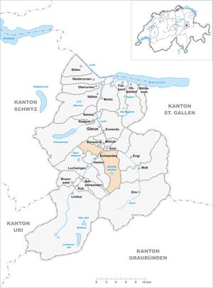 Schwanden, Glarus - Image: Karte Gemeinde Schwanden 2007
