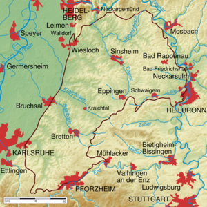 Kraichgau - Physical map of the Kraichgau (within brown line)