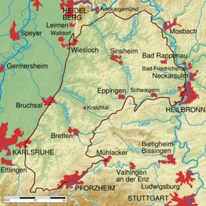 Kraichgau - Physical map of the Kraichgau (within brown line)