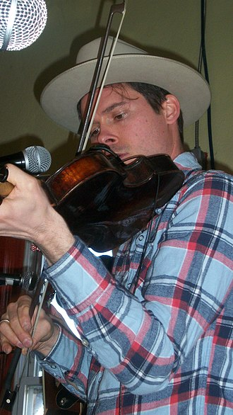 Old Crow Medicine Show - Ketch Secor on fiddle at benefit show for Our Community Place--Little Grill Collective in Harrisonburg, Virginia on January 14, 2012.