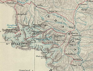 Kharta - Kharta from Morshead's map showing routes taken during the 1921 expedition
