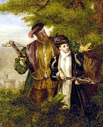 Anne Boleyn - An early-20th-century painting of Anne Boleyn, depicting her deer hunting with the King