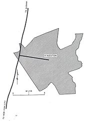 "A shaded area roughly depicts the city of Kingston. A solid line passes the city to the left; one end of the line reads ""to New York City"" while the other (at top) reads ""to Albany"". Another solid line leads from that line to the center of Kingston, where it ends."