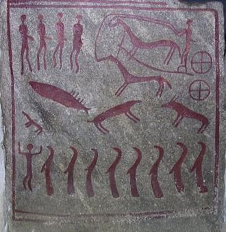 Chariot - A petroglyph in a double burial, c. 1000 BC (the Nordic Bronze Age)