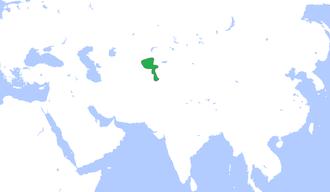 Khanate of Kokand - The Khanate of Kokand (green), c. 1850.