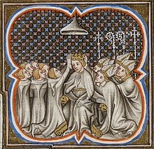 Four bishops and five young men kneeling before a man who sits on a throne.