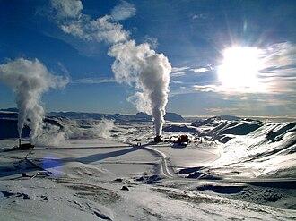 Geothermal power - Image: Krafla geothermal power station wiki