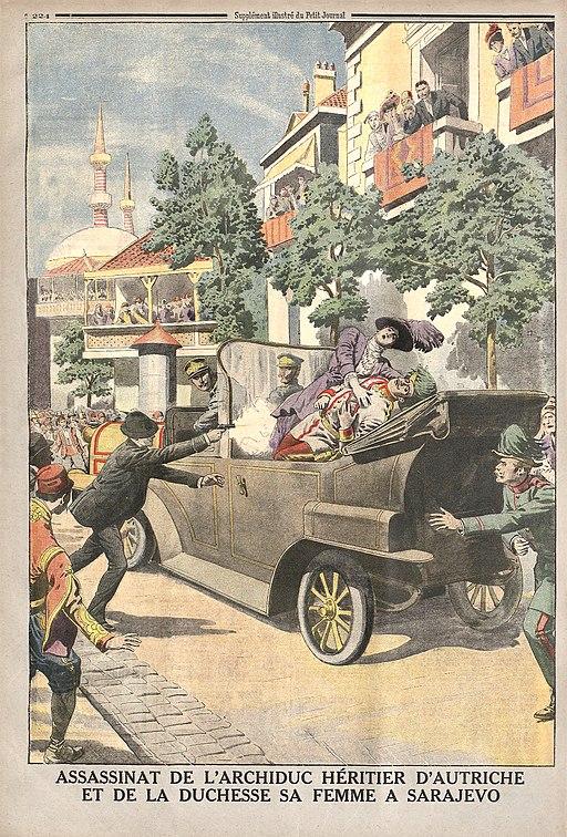 L'assassinat de l'Archiduc héritier d'Autriche et de la Duchesse sa femme à Sarajevo supplément illustré du Petit Journal du 12 juillet 1914