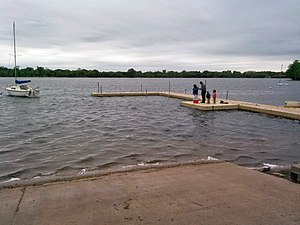 Lake Nokomis - Boat launch and pier at Lake Nokomis