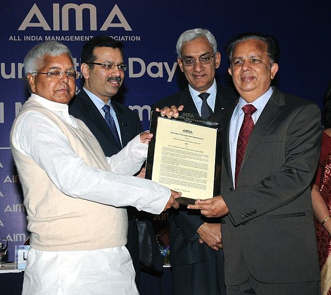 File:Lalu Prasad presenting the Public Service Excellence Award to Mr. G. Madhavan Nair, Chairman, ISRO & his Team, at the Foundation Day of All India Management Association (AIMA), in New Delhi on February 21, 2009.jpg