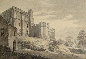 Lancaster Castle - A watercolour by Thomas Hearne from 1778 of the west of Lancaster's keep. The round tower next to the keep was demolished in 1796.
