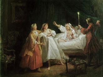 Jean de La Fontaine - A scene from La Fontaine's story Le Gascon Puni by Nicolas Lancret, Musée du Louvre