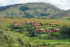 Geography of Madagascar - Village in the central highlands