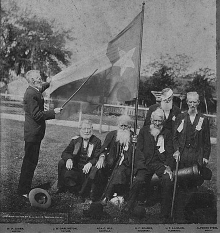 April 21, 1906 Army of the Republic of Texas veteran reunion. L-R are William P. Zuber, John W. Darlington, Aca C. Hill, Stephen F. Sparks, L. T. Lawlor and Alfonso Steele. All participated in the Battle of San Jacinto, as well as other skirmishes. Last Known Texian Veterans of the Texas Revolution (2).jpg