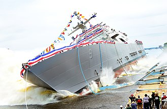 USS Little Rock (LCS-9) - Image: Launch of USS Little Rock (LCS 9) at Marinette Marine in July 2015