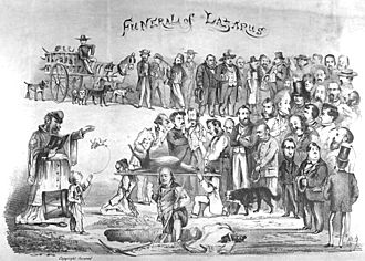 """Bummer and Lazarus - Lazarus' funeral as depicted by Jump. At the rear of the cortege is the dogcatcher in his cart. """"Emperor"""" Norton presides over the service."""