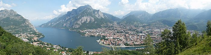"""View of Lecco and the Lake of Como, branch of Lecco, from """"Ciresa plain"""" on Mt. Barro."""