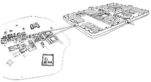 Lauriacum - Reconstruction of the camp and adjoining oppidium.