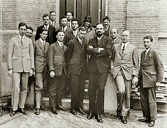 J. Robert Oppenheimer - Heike Kamerlingh Onnes' Laboratory in Leiden, Netherlands, 1926. Oppenheimer is in the second row, third from the left.