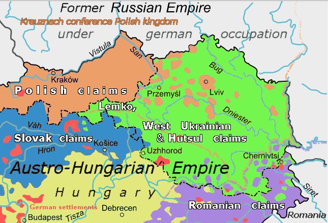 Lemko, West-Ukrainien & Hutsul claims 1918