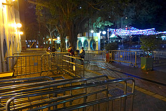 Link REIT - Barriers set up by management at Leung King Estate against hawkers