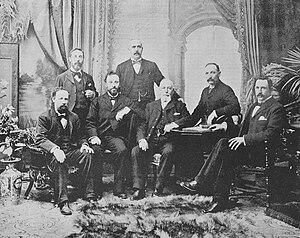 Liberal–Labour (New Zealand) - New Zealand Liberal-Labour MPs, 1896. Back; William Tanner, Arthur Morrison, John A. Millar. Front; William Earnshaw, James Kelly, David Pinkerton, Lindsay Buick.
