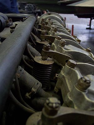 Liberty L-12 - Closeup of a Liberty L-12's valvetrain details, almost matching the later Mercedes D.IIIa design