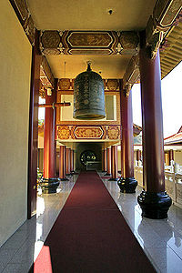 A hallway in California's Hsi Lai Temple