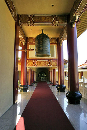 Buddhism in the West - A hallway in California's Hsi Lai Temple.