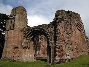 Lilleshall Hall - Ruins of the abbey: the west end of the abbey church.
