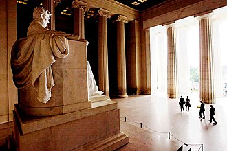 "Lincoln Memorial - President Barack Obama, First Lady Michelle Obama, and former Presidents Jimmy Carter and Bill Clinton walk past the statue of President Abraham Lincoln to participate in the ceremony on the 50th anniversary of the historic March on Washington and Dr. Martin Luther King Jr.'s ""I Have a Dream"" speech"