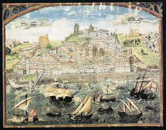 The oldest known panorama of Lisbon (1500-1510) from the Cronica de Dom Afonso Henriques by Duarte Galvao Lisboa 1500-1510.jpg