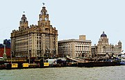 Liverpool's skyline, as seen from the River Mersey. The Liver Building on the left