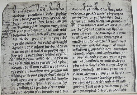 Part of the Welsh Brut y Tywysogion, one of the chronicler sources for Henry's reign Llyfr Coch Hergest 240-241.JPG
