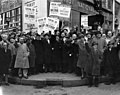 Local 10 Amalgamated Ladies Garment Cutters Union, ILGWU, on strike for better working conditions and higher pay in front of First National City Bank. Picketers includes Charles Zimmerman and Luigi Antonini at center front (5279334217).jpg