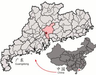 Lage Guangzhous in Guangdong