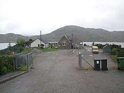 Lochinver Primary school with Loch Culag behind - geograph.org.uk - 1448465.jpg