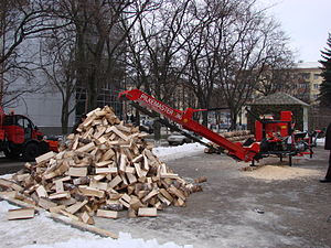 Firewood processor - A firewood processor in Russia
