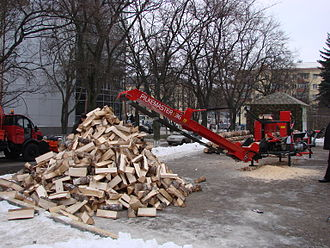 Firewood processor - A firewood processor in Russia